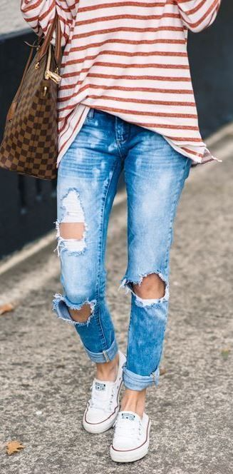 Cute Casual Street Style Outfit Striped Top Bag Ripped Jeans