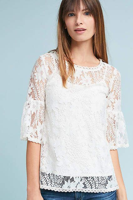 Blue Tassel Daisy Lace Top The Best White Lace Top For Spring Anthropologie Ladies Tops Fashion Lace Top Fashion