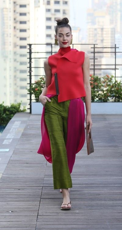 payalkhandwala - - Neoprene Waistcoat, Silk Culottes and Georgette Pleated Dupatta
