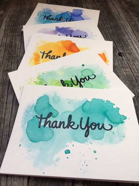 Set of 5 Hand Painted Abstract Watercolor Thank You Cards, Handmade Thank You Note Cards, Blank Thank You Card Set, Black Embossed