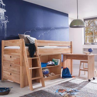 Relita Kim Halbhochbett Buche Natur Halbhohes Bett Mit Schreibtisch Bett Mit Schreibtisch Kinderbett