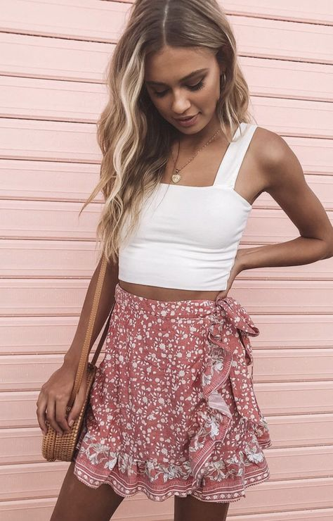 Alissia Rock Red Print - Beginning Boutique - fashion - Skirt