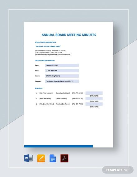Annual Board Meeting Minutes Template Free Pdf Word Doc Apple Mac Pages Google Docs Templates Board Meeting Word Doc