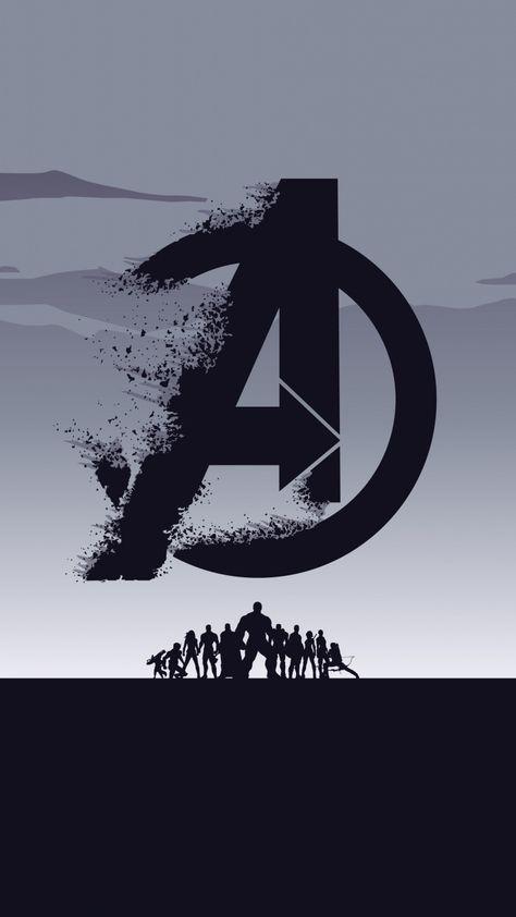 2019 movie, Avengers: Endgame, minimal, silhouette, art, 720x1280 wallpaper