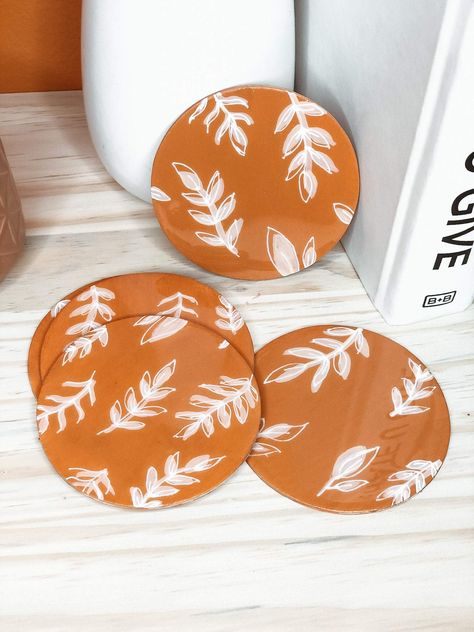 The Maisey Floral Pattern | Painted Wood Coasters - Amber Wave