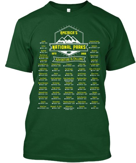 Mark Your Parks 60 National Parks 2018 Deep Forest T Shirt Front National Parks National Parks America American National Parks