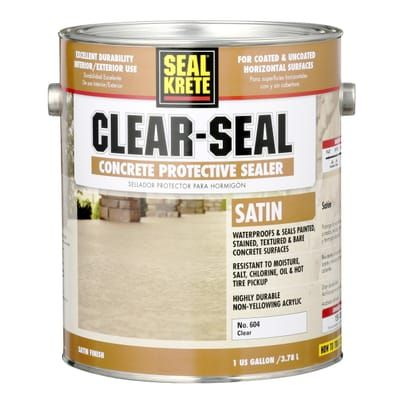 Seal Krete 1 Gal Satin Clear Seal Concrete Protective Sealer 604001 Seal Concrete Floor Painted Concrete Floors Concrete