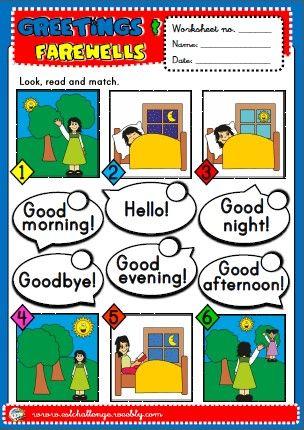 Greetings Worksheet English Worksheets For Kids English Teaching Resources Learning English For Kids Simple greetings worksheets for kindergarten