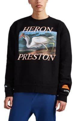 ef9ab3fbccb7 HERON PRESTON HERON-GRAPHIC COTTON FLEECE SWEATSHIRT - BLACK SIZE M. # heronpreston #cloth