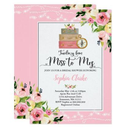 Travel Bridal Shower Invitation Miss To Mrs Floral Zazzle Com Travel Bridal Showers Bridal Shower Invitations Floral Wedding Invitation Card