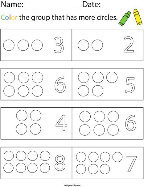 Color The Group That Has More Circles Math Worksheet Twisty Noodle Circle Math Math Worksheet Math