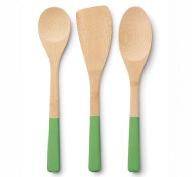 Bamboo Trio Utensil Set In Grass Utensil Set Bamboo Cooking Utensils Cooking Utensils Set