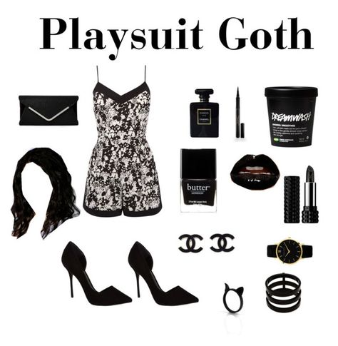 """Playsuit Goth"" by princessel ❤ liked on Polyvore featuring Oasis, KG Kurt Geiger, Chanel, Elizabeth Arden, Butter London, Kat Von D, Repossi, Larsson & Jennings, Cyrus and black"