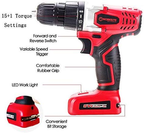 Worksite 8v Electric Cordless Drill Screwdriver With 1300ma Lithium Ion Battery 16 Position Keyless Clutch Variable Speed Swi Cordless Drill Drill Led Lights