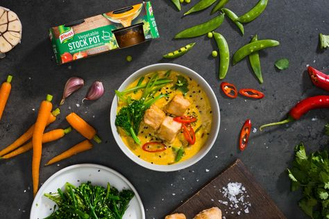 This vibrant, vegan coconut curry is a veggie-packed weeknight winner! #cheatonmeat