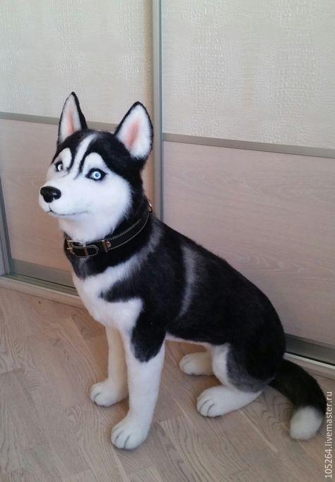 Купить Хаски - хаски, авторская работа, ручная работа, собака из шерсти, щенок из шерсти