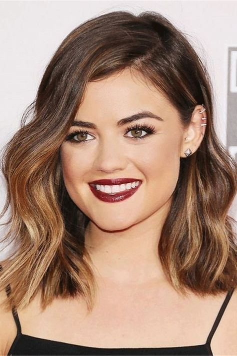 Lucy Hale One Side Parted Wavy Human Hair Women Wig#Wig