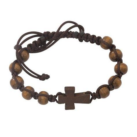 Brown Wood Corded Cross Bracelet, First Communion Gift for Boys, Catholic Gift for Children