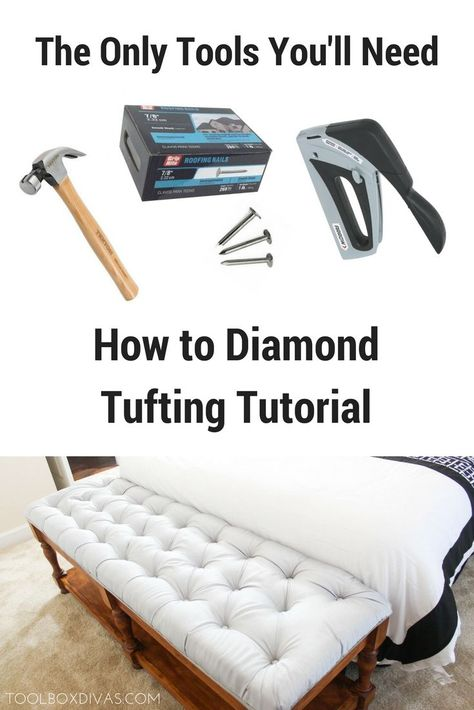 how-to tuft tutorial, I'll demonstrate the easiest tufting technique out there. Learn how to create diamond tufted headboards and benches like a professional without busting the budget. DIY projects on a budget. Create home decorations like a coffee tabl Diy Tufted Headboard, Tufted Bench, Diy Headboards, Headboard Benches, Tufting Diy, Tufted Ottoman Coffee Table, Diy Projects On A Budget, Diy Home Decor On A Budget, Furniture Projects