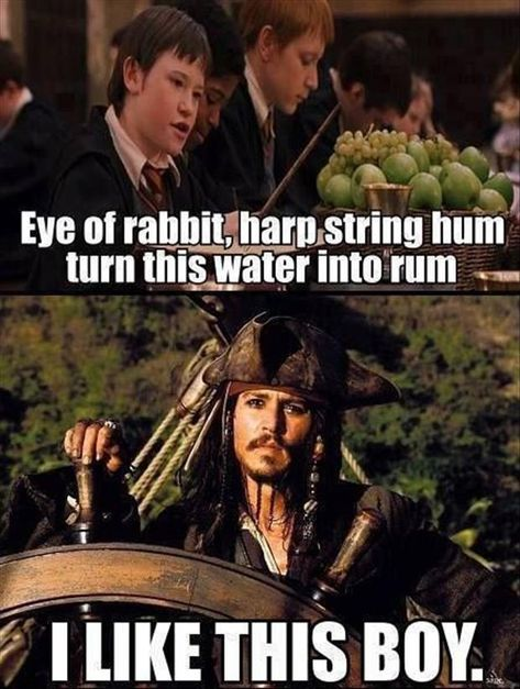 funny-Harry-Potter-Jack-Sparrow-water-rum Of course you do captain Jack. Also you need to hide the rum from will too. He blew it up Humour Harry Potter, Harry Potter Fandom, Funny Harry Potter Quotes, Harry Potter Stuff, Harry Potter Crossover, Harry Potter Disney, Harry Potter Spells, Hogwarts, Slytherin
