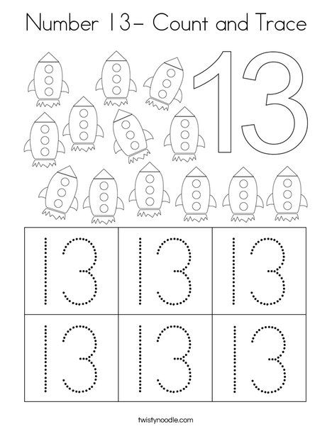 Number 13 Count And Trace Coloring Page Twisty Noodle In 2020 Numbers Preschool Counting Activities Preschool Preschool Counting