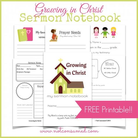 Growing in Christ: Sermon Notebook for kids. Help your student get more out of the service with this FREE printable!