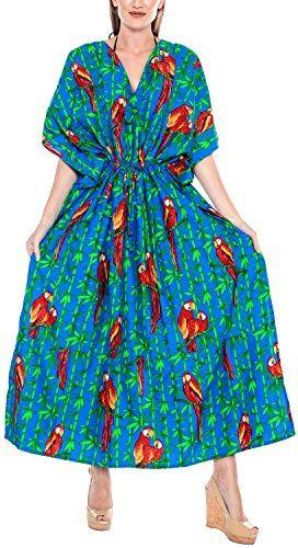 LA LEELA Donne Kaftan Tunica Stampato Kimono Libero Formato Lungo Maxi Partito Caftano Vestito per Loungewear Vacanze Pigiama Spiaggia di Tutti i Giorni Coprire i Vestiti BI