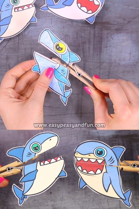 We have the coolest shark week craft to share with you – shark clothespin puppets! These little ocean friends are ready to chomp on everything.