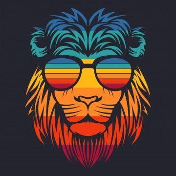 Zombie Head Lion Illustration Colorful Lion Retro Eyeglasses