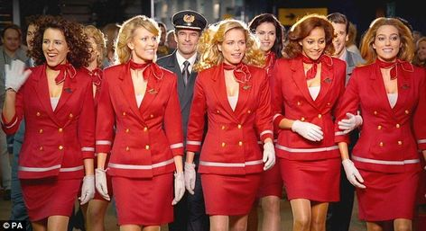 Our cabin crew looking red hot in their throwback advert, set in the Eighties.