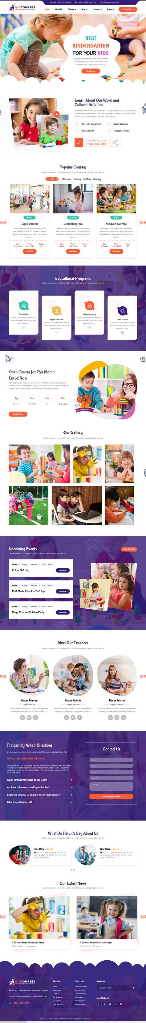 KidCourses - Colorful Kindergarten and School Joomla Template