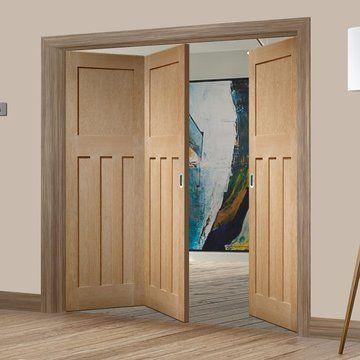 Three Folding Doors Frame Kit Dx Oak 1930 S Panel 2 1 Unfinished Mdf