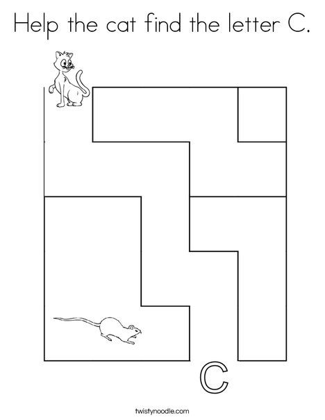 Help The Cat Find The Letter C Coloring Page Twisty Noodle Letter C Coloring Pages Lettering Coloring Pages