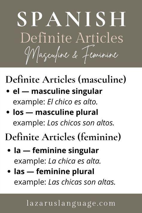 Spanish Articles: Definite Articles