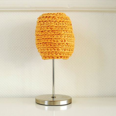 eco #design on #Etsy: Crochet Lamp Shade from Upcycled Tshirt Yarn / Unique by buubok, €19.00
