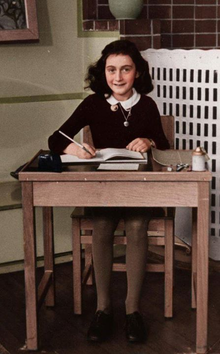 Anna Frank (1929-1945). Her famous diary chronicles the events of her