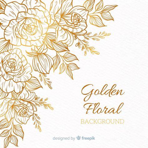 Golden floral background Vector | Free Download