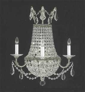 """Empire Crystal Wall Sconce Lighting W18"""" H23"""" D10"""" - A81-1/8/Silver/Wallsconce"""
