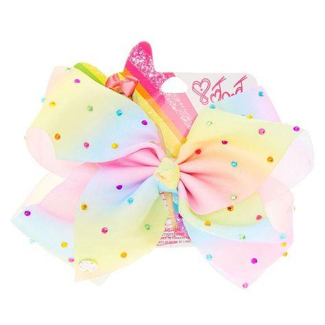 JoJo Siwa Large Rainbow Rhinestone Signature Hair Bow: Get the ultimate JoJo Siwa super fan bow with this large rainbow ombre signature…
