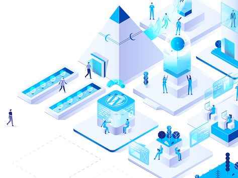 Smart City glow vector network connected internet web design devices technology future isometric city blue