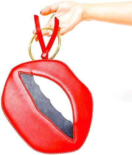Best Seller Womens Red Lips Purse Clutch Bag Card Holder Gold