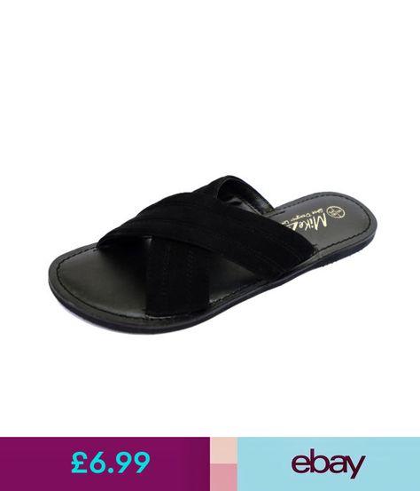 7f820383f4c9c Sandals Ladies Flat Black Comfy Slip-On Leather Sandals Flip-Flop Shoes  Slider Mules 3-9  ebay  Fashion