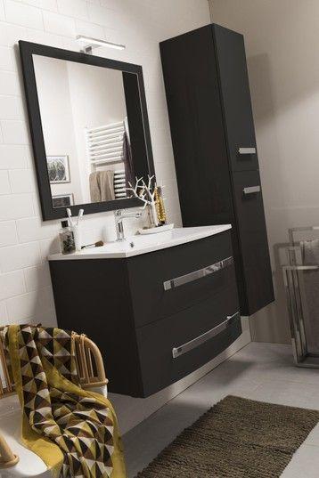 Meuble De Salle De Bains Perla L 81 Noir Simple Vasque Meuble Salle De Bain Meuble De Salle De Bain Salle De Bain Noir