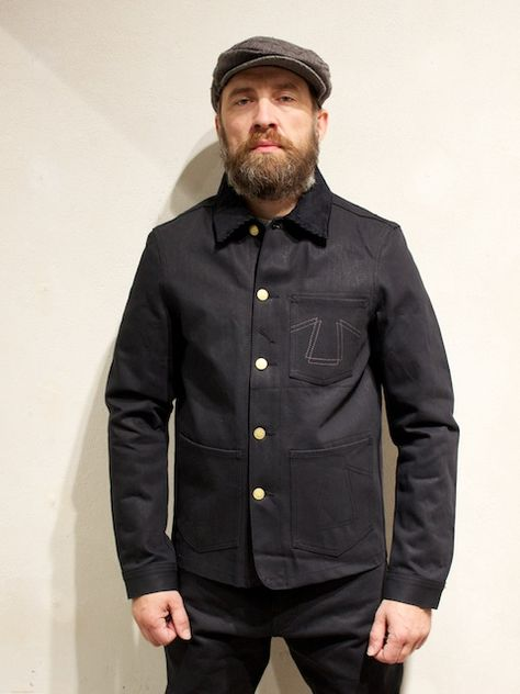 [- Heavy duty worker denim jacket made in 14 OZ Black/Black Japanese Red Selvage Denim. - Bbody linned with cotton and sleeves with red nylon - 2 reinforced hip pockets with signature Z-BAR stitch - 1 breast pocket with signature Z-BAR Stitch Contr