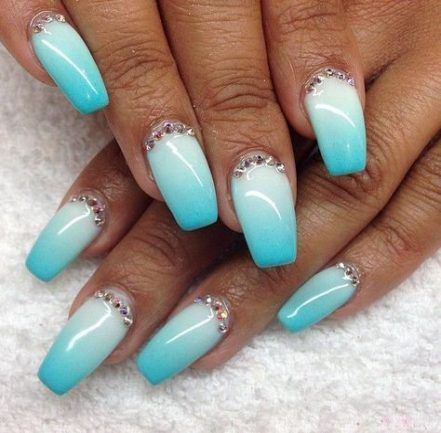 Aqua Glitter Ombre Coffin Nails Turquoise Nails Blue Acrylic Nails Turquoise Nail Designs