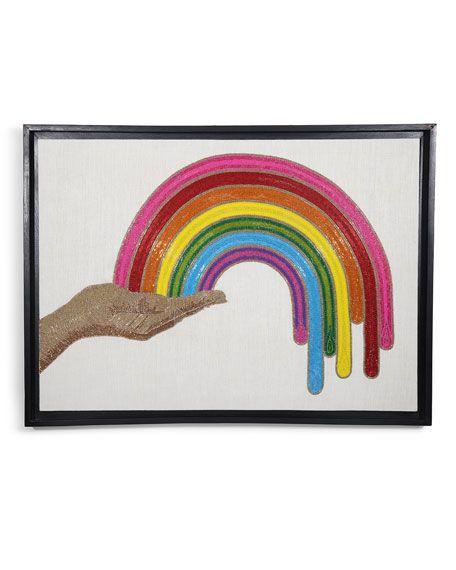 Jonathan Adler Rainbow Hand Beaded Wall Art Rainbow Beads Wall Art Beaded