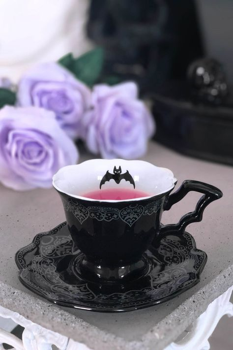 Goth Home Decor, After Midnight, Gothic House, Cauldron, Ceramic Cups, Tea Cup Saucer, Tea Cup Set, Tea Time, Tea Party