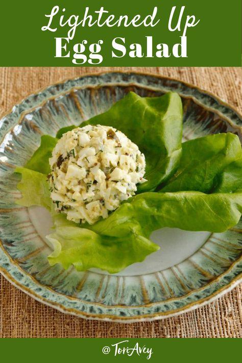 Lightened Up Egg Salad - Lower calorie, lower cholesterol egg salad recipe. Fresh dill for flavor and dill pickles for a salty crunch. | ToriAvey.com #eggsalad #lightrecipe #easyrecipe #healthysubstitute #kosher #pareve #dairyfree #glutenfree #boiledegg #eggs #TorisKitchen