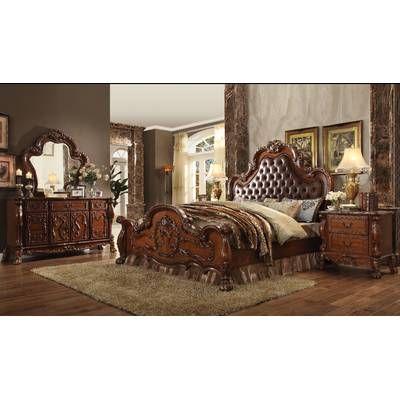Erwan Standard Solid Wood 4 Piece Bedroom Set Upholstered