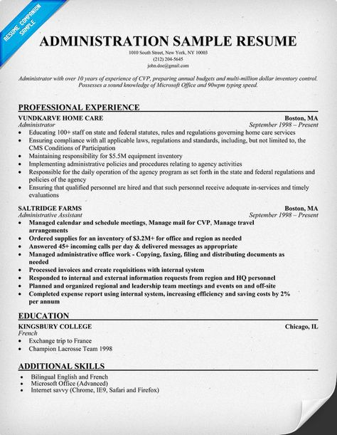 Administration Resume Sample (resumecompanion) #Career - sample resume reference